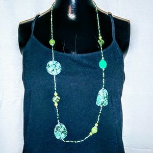 Green Single Strand Beaded Necklace